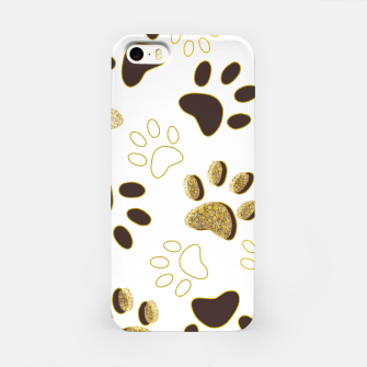 Thumbnail image of Gold and Chocolate Brown Colored Shining Paw Prints iPhone Case, Live Heroes