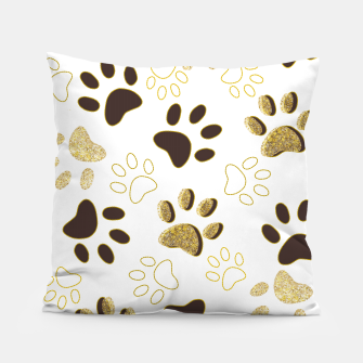 Thumbnail image of Gold and Chocolate Brown Colored Shining Paw Prints Pillow, Live Heroes