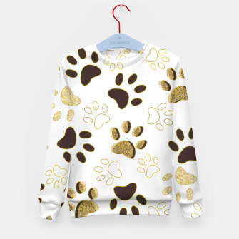 Thumbnail image of Gold and Chocolate Brown Colored Shining Paw Prints Kid's sweater, Live Heroes
