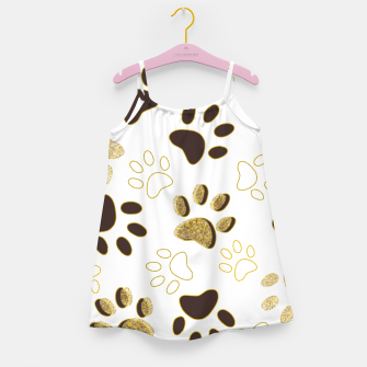 Thumbnail image of Gold and Chocolate Brown Colored Shining Paw Prints Girl's dress, Live Heroes