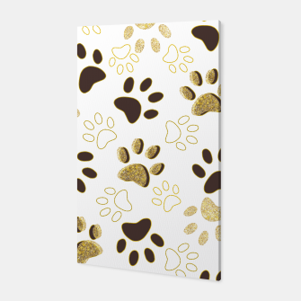 Thumbnail image of Gold and Chocolate Brown Colored Shining Paw Prints Canvas, Live Heroes
