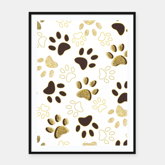 Thumbnail image of Gold and Chocolate Brown Colored Shining Paw Prints Framed poster, Live Heroes