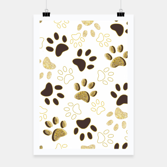 Thumbnail image of Gold and Chocolate Brown Colored Shining Paw Prints Poster, Live Heroes