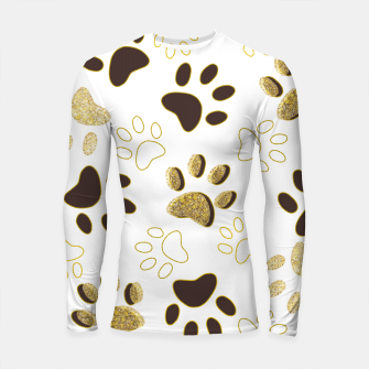 Thumbnail image of Gold and Chocolate Brown Colored Shining Paw Prints Longsleeve rashguard , Live Heroes