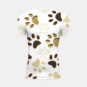 Thumbnail image of Gold and Chocolate Brown Colored Shining Paw Prints Shortsleeve rashguard, Live Heroes