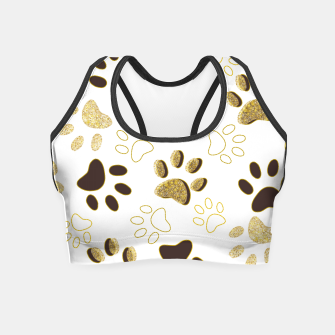 Thumbnail image of Gold and Chocolate Brown Colored Shining Paw Prints Crop Top, Live Heroes
