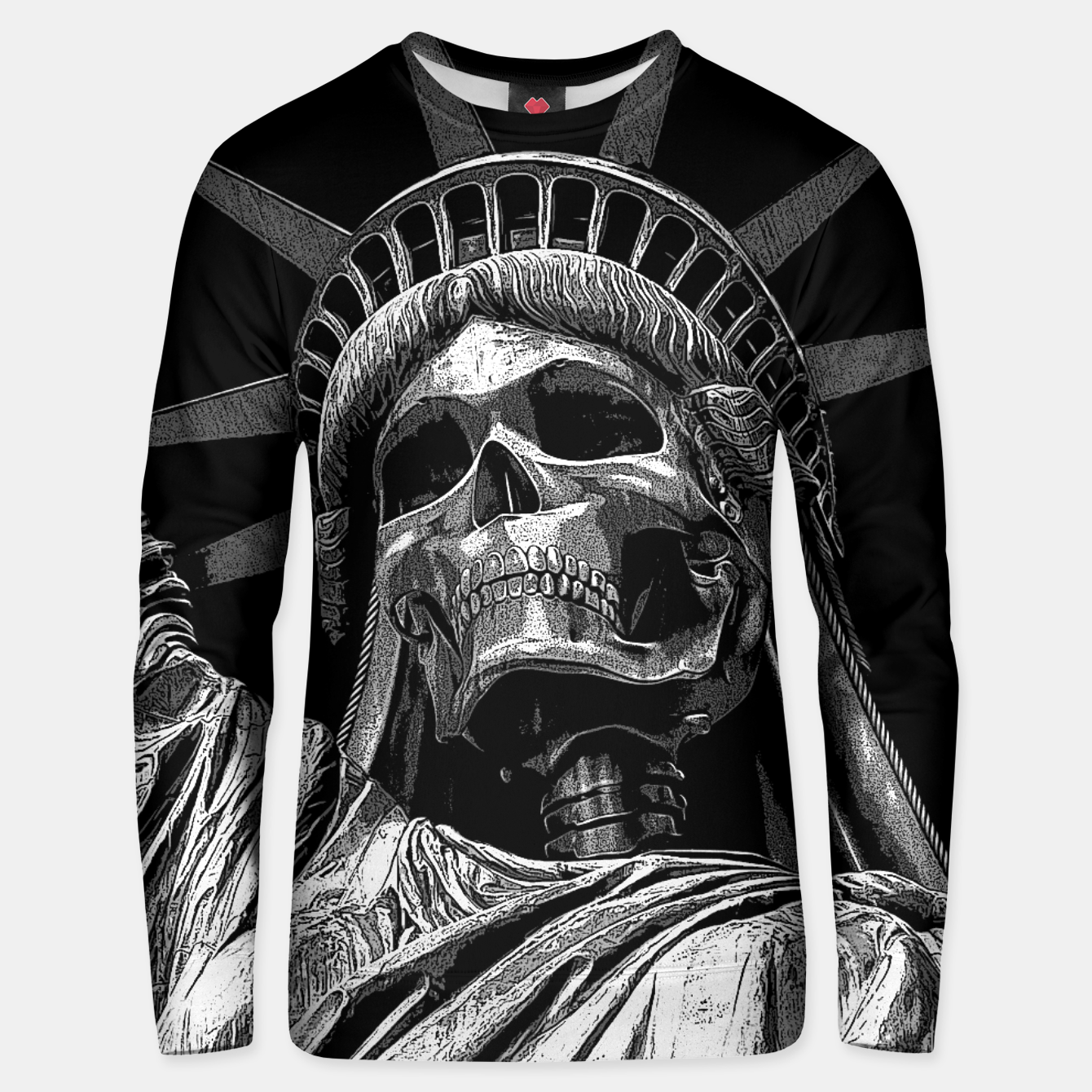 Image of Liberty or Death B&W A dark piece of goth Americana for men and women Unisex sweater - Live Heroes