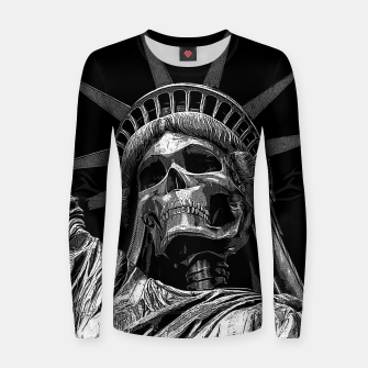 Thumbnail image of Liberty or Death B&W A dark piece of goth Americana for men and women Women sweater, Live Heroes