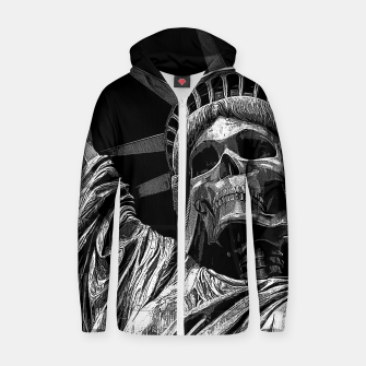 Thumbnail image of Liberty or Death B&W A dark piece of goth Americana for men and women Zip up hoodie, Live Heroes