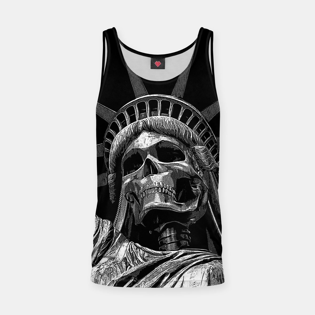 Image of Liberty or Death B&W A dark piece of goth Americana for men and women Tank Top - Live Heroes