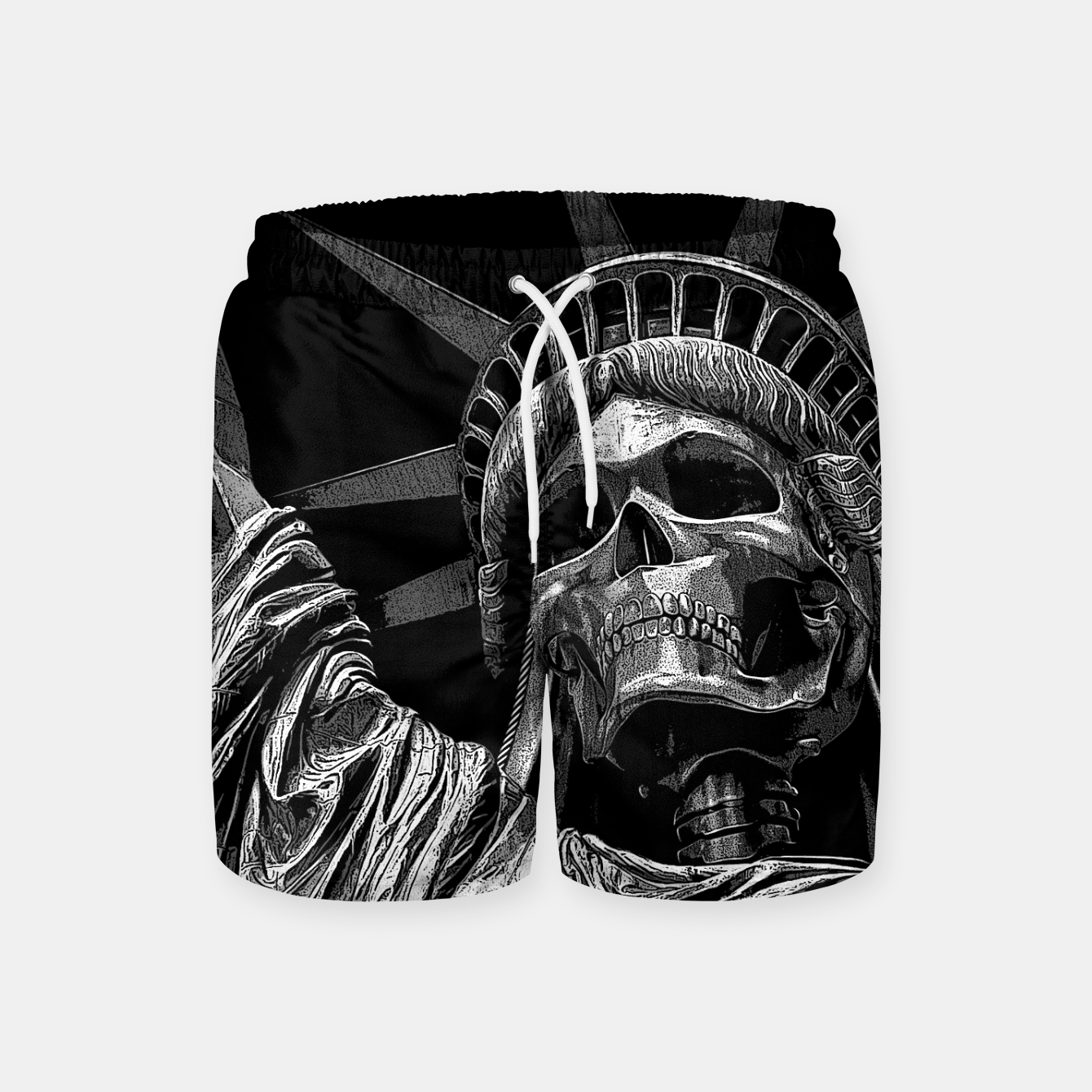 Image of Liberty or Death B&W A dark piece of goth Americana for men and women Swim Shorts - Live Heroes