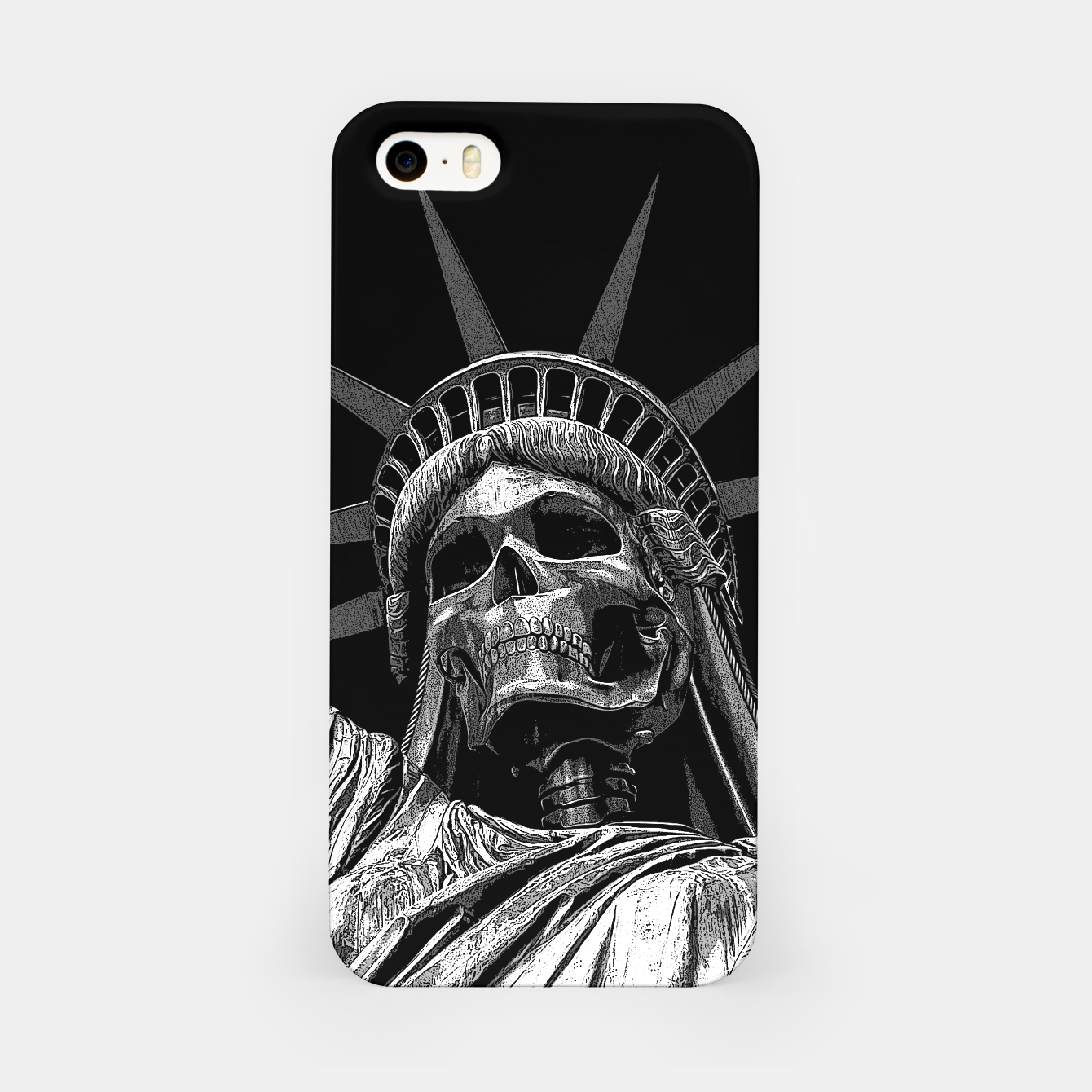 Image of Liberty or Death B&W A dark piece of goth Americana for men and women iPhone Case - Live Heroes