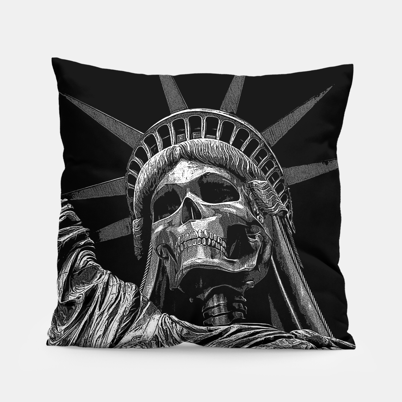Image of Liberty or Death B&W A dark piece of goth Americana for men and women Pillow - Live Heroes