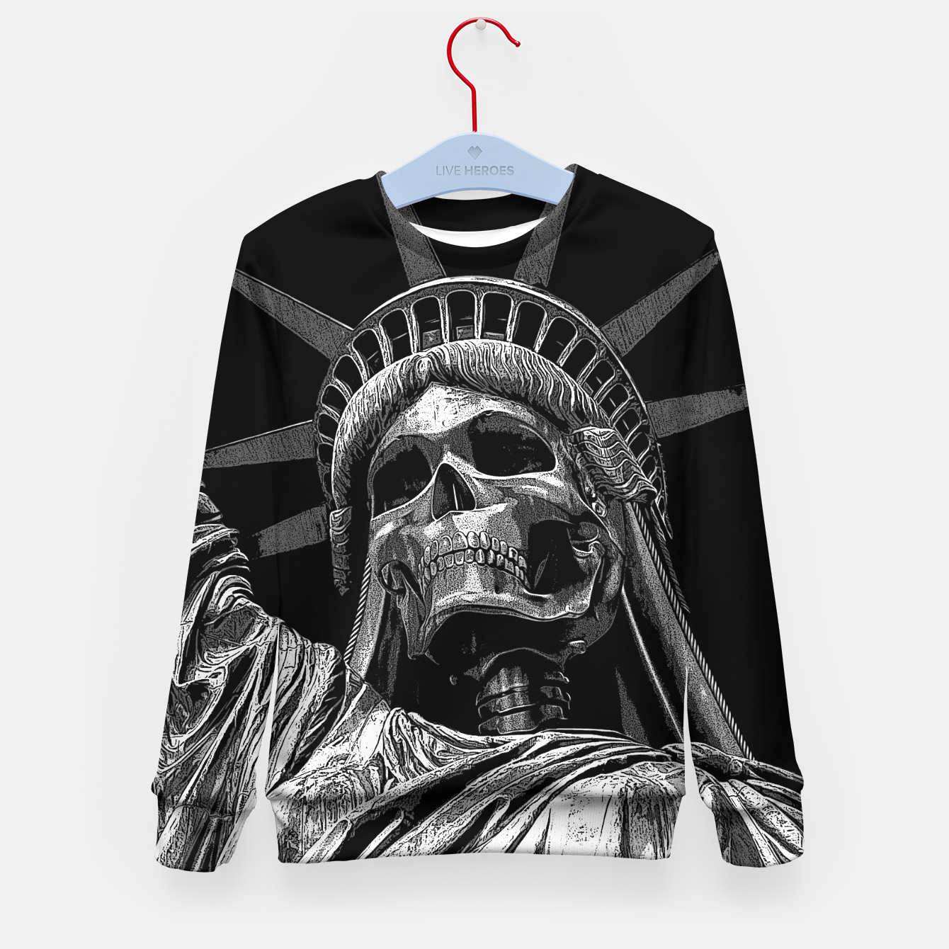 Image of Liberty or Death B&W A dark piece of goth Americana for men and women Kid's sweater - Live Heroes