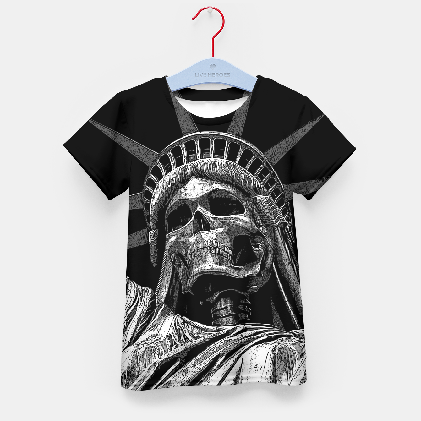 Image of Liberty or Death B&W A dark piece of goth Americana for men and women Kid's t-shirt - Live Heroes