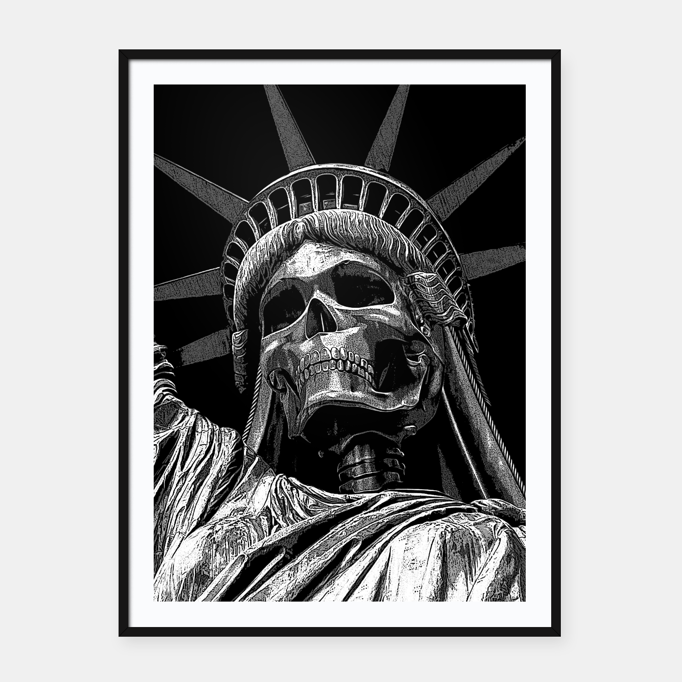 Image of Liberty or Death B&W A dark piece of goth Americana for men and women Framed poster - Live Heroes