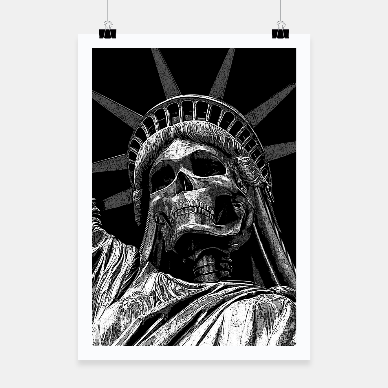 Image of Liberty or Death B&W A dark piece of goth Americana for men and women Poster - Live Heroes