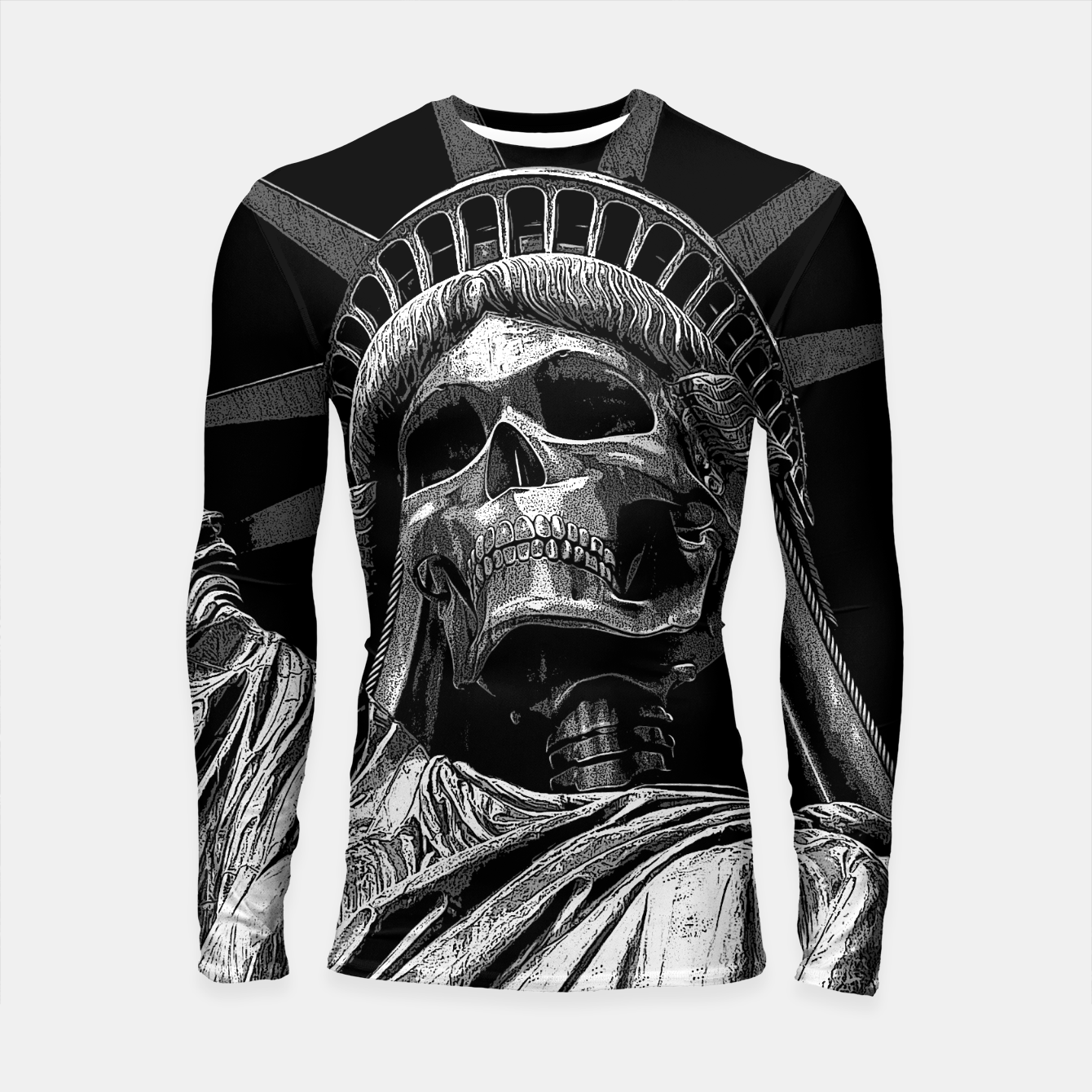 Image of Liberty or Death B&W A dark piece of goth Americana for men and women Longsleeve rashguard  - Live Heroes