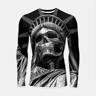 Thumbnail image of Liberty or Death B&W A dark piece of goth Americana for men and women Longsleeve rashguard , Live Heroes
