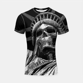 Thumbnail image of Liberty or Death B&W A dark piece of goth Americana for men and women Shortsleeve rashguard, Live Heroes