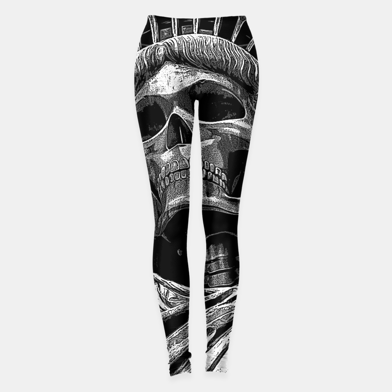 Image of Liberty or Death B&W A dark piece of goth Americana for men and women Leggings - Live Heroes