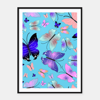 Thumbnail image of Spectrum colorful artistic design butterfly pattern Framed poster, Live Heroes