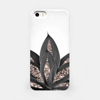 Thumbnail image of Gray Black Agave with Rose Gold Glitter #2 #shiny #tropical #decor #art  iPhone-Hülle, Live Heroes