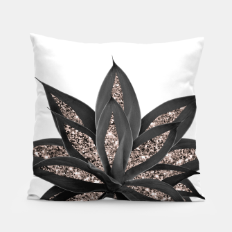 Thumbnail image of Gray Black Agave with Rose Gold Glitter #2 #shiny #tropical #decor #art  Kissen, Live Heroes