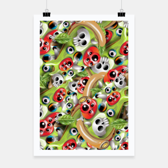 Miniatur Pizza Monster Pattern Poster, Live Heroes