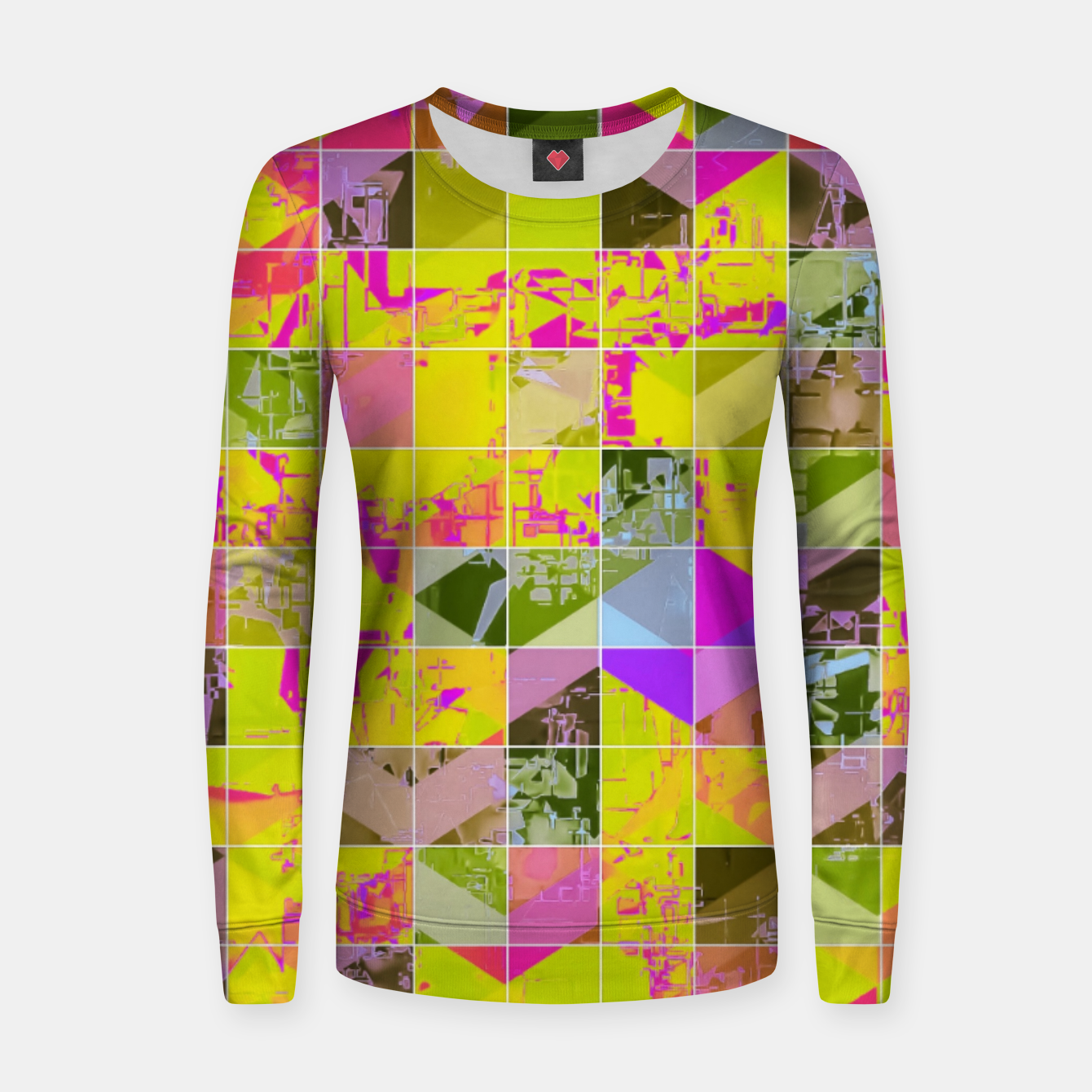 50d339d835b5 Image of geometric square pattern abstract in yellow green pink Women  sweater - Live Heroes