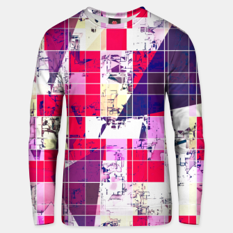 Thumbnail image of geometric square and triangle pattern abstract in red and blue Unisex sweater, Live Heroes