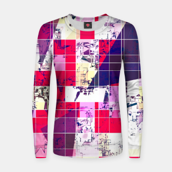 Thumbnail image of geometric square and triangle pattern abstract in red and blue Women sweater, Live Heroes