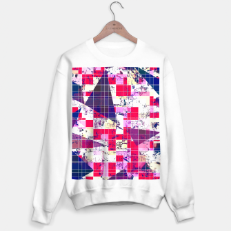 Thumbnail image of geometric square and triangle pattern abstract in red and blue Sweater regular, Live Heroes