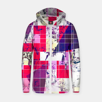 Thumbnail image of geometric square and triangle pattern abstract in red and blue Zip up hoodie, Live Heroes