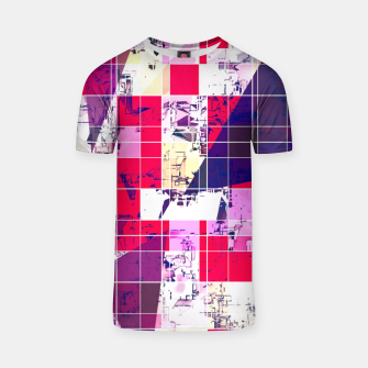 Thumbnail image of geometric square and triangle pattern abstract in red and blue T-shirt, Live Heroes