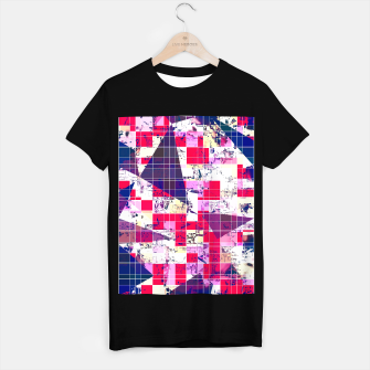 Thumbnail image of geometric square and triangle pattern abstract in red and blue T-shirt regular, Live Heroes