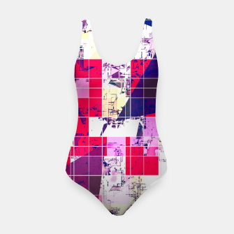 Thumbnail image of geometric square and triangle pattern abstract in red and blue Swimsuit, Live Heroes