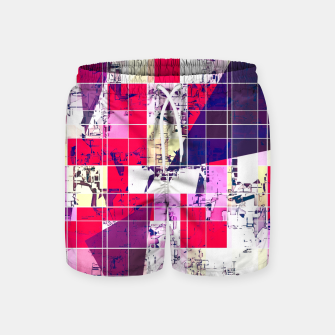 Thumbnail image of geometric square and triangle pattern abstract in red and blue Swim Shorts, Live Heroes