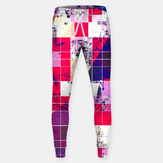 Thumbnail image of geometric square and triangle pattern abstract in red and blue Sweatpants, Live Heroes