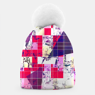 Thumbnail image of geometric square and triangle pattern abstract in red and blue Beanie, Live Heroes