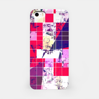 Thumbnail image of geometric square and triangle pattern abstract in red and blue iPhone Case, Live Heroes