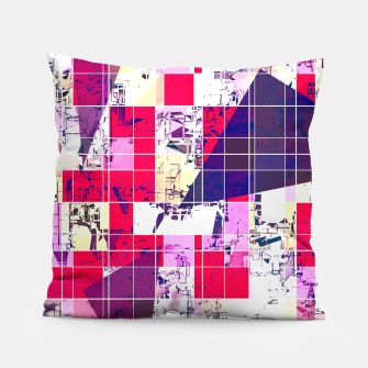 Thumbnail image of geometric square and triangle pattern abstract in red and blue Pillow, Live Heroes