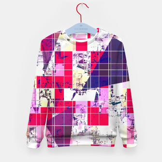 Thumbnail image of geometric square and triangle pattern abstract in red and blue Kid's sweater, Live Heroes
