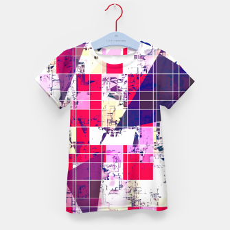 Thumbnail image of geometric square and triangle pattern abstract in red and blue Kid's t-shirt, Live Heroes