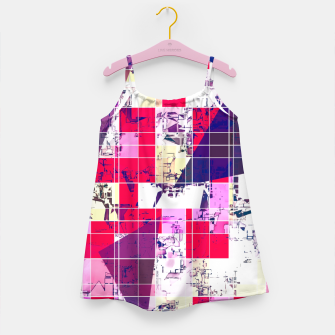 Thumbnail image of geometric square and triangle pattern abstract in red and blue Girl's dress, Live Heroes