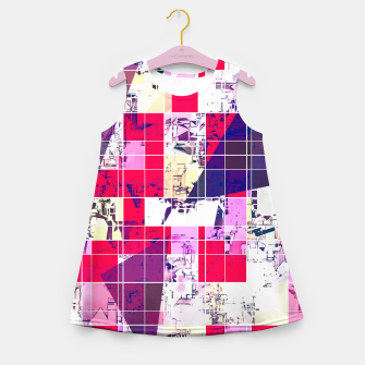 Thumbnail image of geometric square and triangle pattern abstract in red and blue Girl's summer dress, Live Heroes