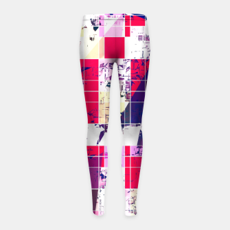 Thumbnail image of geometric square and triangle pattern abstract in red and blue Girl's leggings, Live Heroes