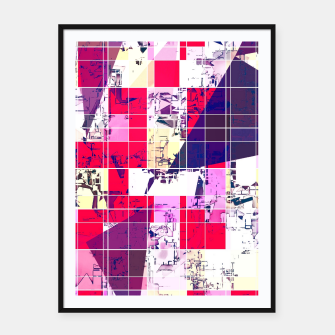 Thumbnail image of geometric square and triangle pattern abstract in red and blue Framed poster, Live Heroes
