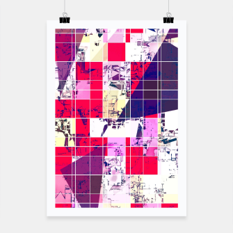 Thumbnail image of geometric square and triangle pattern abstract in red and blue Poster, Live Heroes