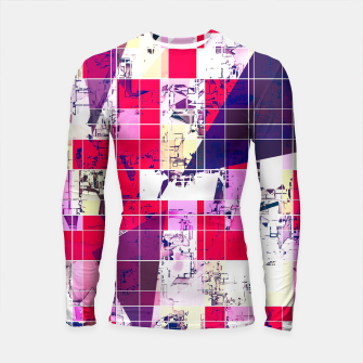 Thumbnail image of geometric square and triangle pattern abstract in red and blue Longsleeve rashguard , Live Heroes